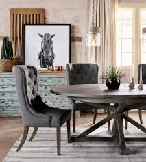 gray round dining table set grey tufted chairs and rustic gray round table for country styled