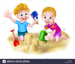 cartoon kids playing in the sand on a beach or in a sandpit making