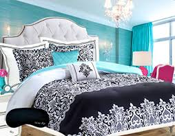 Black White And Teal Bedroom Teen Girls Bedding Damask Comforter Black And White Aqua Https