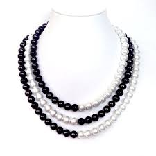 white pearl necklace designs images Black and white pearl necklace 3 strands silver bar clasp jpg