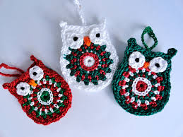 owl christmas ornament in red green and white set of three
