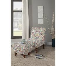 Teal Chair And Ottoman Homepop Coral And Turquoise Paisley Accent Chair And Ottoman