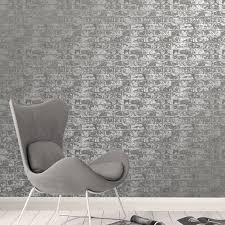 fine decor loft brick grey metallic wallpaper fd41956