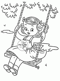 cute swing coloring kids seasons coloring