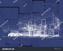 Floor Plan And Perspective Blueprint Architecture Plan Perspective Drawing Contemporary Stock