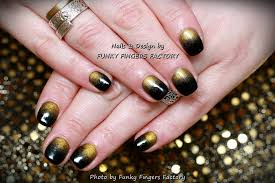 gelish black and gold nails funky fingers factory