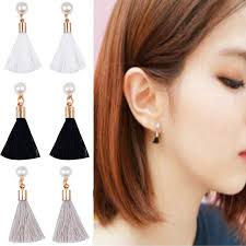 korean earings famshin 2017 korean simple section tassel nail jewelry trend