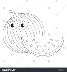 ripe watermelon be colored coloring book stock vector 444096568