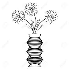 flower in vase drawing vase with flowers on white background vector illustration