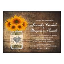 jar wedding programs sunflower wedding invitations rustic country wedding invitations