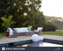 outdoor sitting area outdoor seating area at swimming pool stock photo royalty free