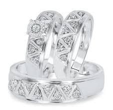 Trio Wedding Ring Sets by 1 2 Carat Diamond Trio Wedding Ring Set 10k White Gold