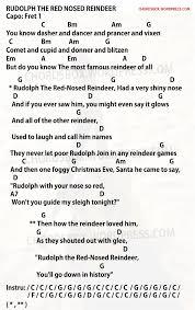 chord rudolph the red nosed reindeer u2013 christmas song u2013 chordsbox