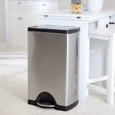 decor touchless stainless steel trash can and white kitchen
