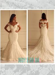 Wedding Dress On Sale Off Shoulder Lace Fit Flare Mermaid Wedding Dress On Sale 2438284