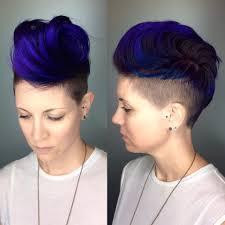 female short hair undercut women u0027s voluminous royal blue brushed up undercut pixie short