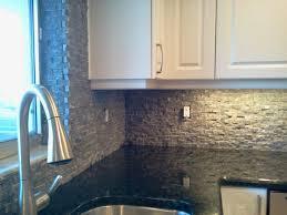 Kitchen  Kitchen Backsplash Decoration Ideas Using Natural Gravel - Natural stone kitchen backsplash