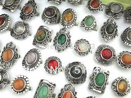 stone vintage rings images 10pcs wholesale jewelry lots mix natural stones antique silver jpg