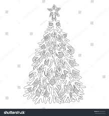 christmas tree coloring page adults stock vector 510314752