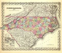 North Carolina State Map by Old State Map North Carolina Colton 1856