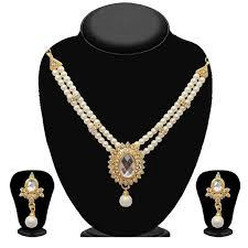 gold stone necklace sets images Shop kriaa green pota stone pearl gold plated necklace set jpg