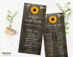 country wedding programs rustic sunflower wedding programs rustic ceremony program country