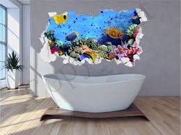 sea aquarium fish bathroom under water crumbled wall 3d huge like this item