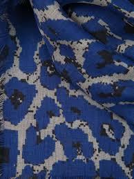 Blue Leopard Print Mcq Leopard Print Scarf In Blue Lyst