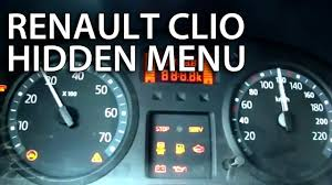 renault clio ii hidden test menu thalia dacia logan gauges