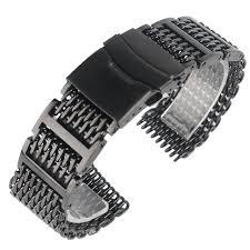 black mesh bracelet images Yisuya 20mm 22mm 24mm watchband black stainless steel shark mesh jpg
