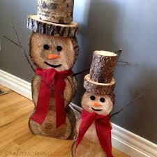 wooden snowman log snowmen decorations for christmas winter crafty morning
