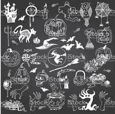 halloween vector art halloween hand drawn set on the gray chalkboard background stock