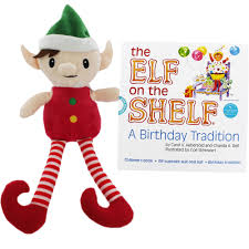 the elf on the shelf a birthday tradition book and elf suit by