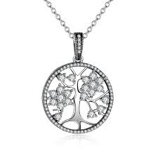 family tree necklace silver with cz pandora style 925 sterling silver