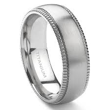 mens titanium rings ansgar titanium 8mm milgrain wedding band ring