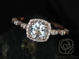 aquamarine engagement rings rosados box christie 6mm rose gold round aquamarine and diamonds
