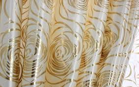 Gold Metallic Curtains Blackout Like Sateen Silver Metallic Foil Scrolls Patterned Drapes