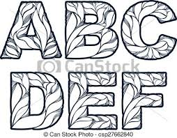 vectors of blue delicate capital letters with marine ornament