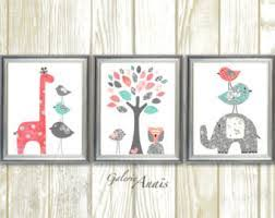 Giraffe Nursery Decor Wall Designs Set Of 3 Wall Coral And Turquoise Baby