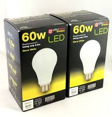 2 60w led light bulb dimmable warm white 3000k 800 lumens a19
