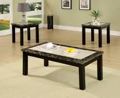 Pc Coffee Table Fa4188 Atlas V Black Faux Marble Table Top 3 Pc Table Set