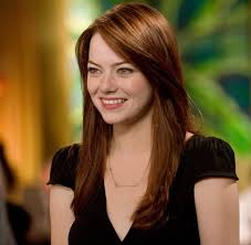 emma stone natural hair all over natural looking red brown hair color with dark red melted