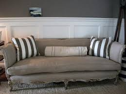 antique french sofa in belgian linen and down cushion french
