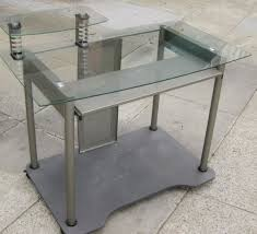 computer desk glass metal glass and metal computer desk awesome l shaped with regard to 7