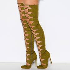 big w s boots olive green gladiator boots suede thigh high lace up boots for