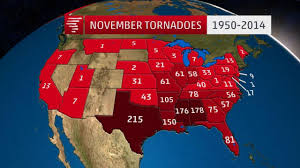 where november tornadoes are most common and the 5 largest outbreaks