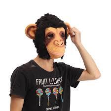 Latex Halloween Costume Gorilla Head Mask Creepy Animal Halloween Costume Theater Prop
