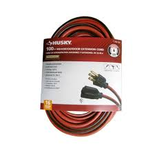 husky 100 ft 16 3 sjtw extension cord red and black aw62669