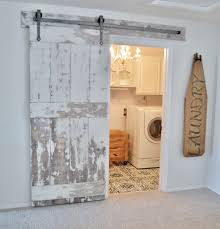 my laundry room update with diy barn door and painted floor tutorial