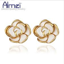 gold earrings studs almei 15 gold color flower earrings studs small white black